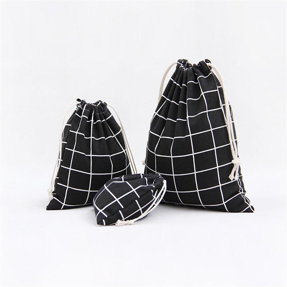 3pcs/set Drawstring Bags Simple Grid Cotton Linen Fabric Dust Bag Shoes Bag Travel Accessories 3Colors