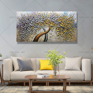 Image 3 - Hand Painted Knife Gold Tree Oil Painting On Canvas Large Palette 3D Paintings For Living Room Modern Abstract Wall Art Pictures