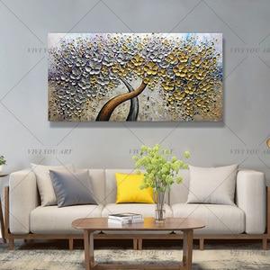 Image 3 - Handgemalte Messer Gold Baum Ölgemälde Auf Leinwand Große Palette 3D Gemälde Für Wohnzimmer Moderne Abstrakte Wand Kunst bilder