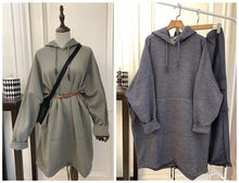 Haohuo medium long Plush thick autumn and winter big pocket two color dress Hooded Sweater