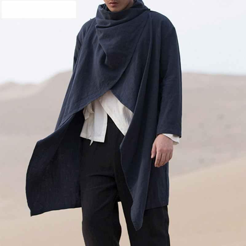 НОВЫЙ Тренч цвета хаки, мужской классический осенне-зимний длинный Тренч, мужское повседневное Свободное длинное пальто, куртка, мужское пальто, уличная куртка