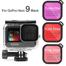Ruigpro Vỏ Chống Nước Ốp Lưng Kính Cường Lực Dành Cho GoPro Hero 9 Đen Bổ Nhào Bảo Vệ Dưới Nước Đi Pro 9 Phụ Kiện