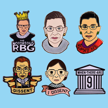 Ruth Bader Ginsburg I Dissent RBG Enamel Pin Female Justice Badge Brooch Lapel Pin Denim Shirt Dissent Collar Feminist Jewelry image