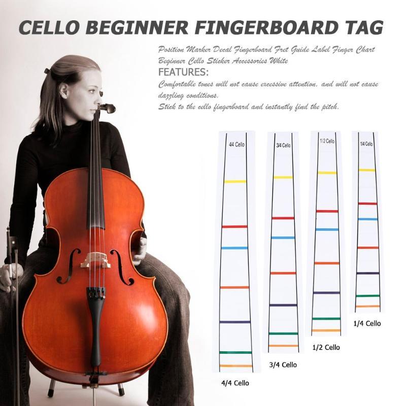Cello Position Marker Decal Fingerboard Fret Guide Label Finger Chart Beginner White Cello Sticker Accessories