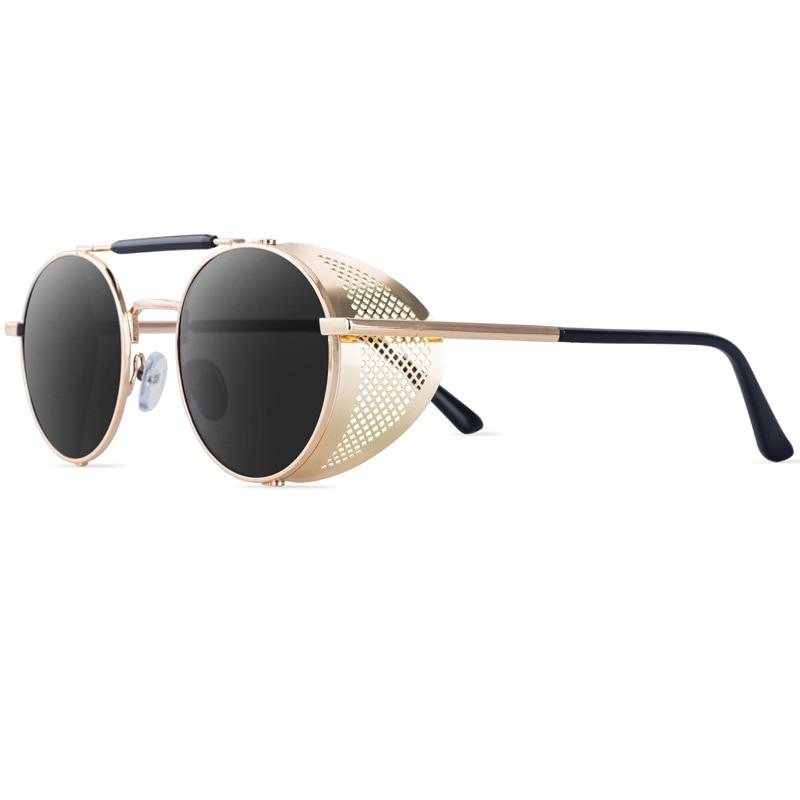 ZXRCYYL Classic Gothic Steampunk Style Sunglasses Men Women Brand Designer Retro Round Metal Frame Colorful Lens Sun Glasses