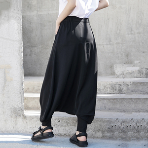 [EAM] High Elastic Waist Black Brief Long Leisure Wide Leg Trousers New Loose Fit Pants Women Fashion Spring Autumn 2020 1T066