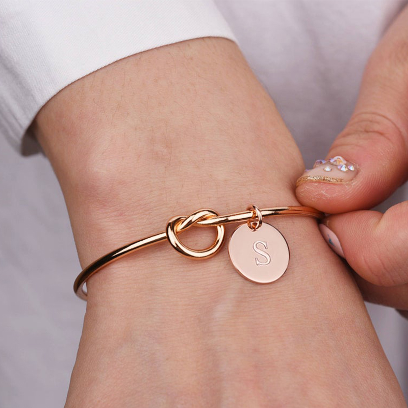 Lateefah Personalized Knot Initial Bracelets Bangles A-Z 26 Letters Charm Bracelet Love Bangles for Women Jewelry Pulseiras ETSY