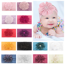 Soft Kids Elastic Wide Hairband Turban Cute Sweet Baby Flower Headband Nylon Solid Toddler Solid Color Headband Hair accessories(China)