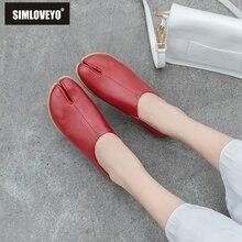 SIMLOVEYO 2020 neue design frauen wohnungen horse schuhe frau echtes kuh leder wohnungen damen slip auf chaussures sapatos femininnos