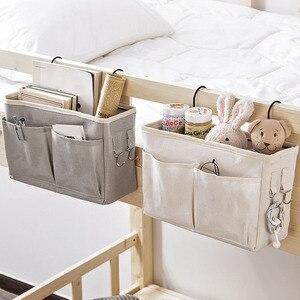 Canvas Bedside Hanging Pocket Storage Bag Bedroom Magazine Storage Pouch Diaper Caddy Toy Holder Baby Tissue Box Home Organizer