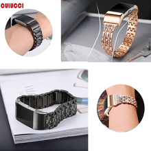 OULUCCI Metal Stainless Strap For Fitbit Charge 2 Band Rhinestone wriststrap for charge 3 Smart bracelet Women