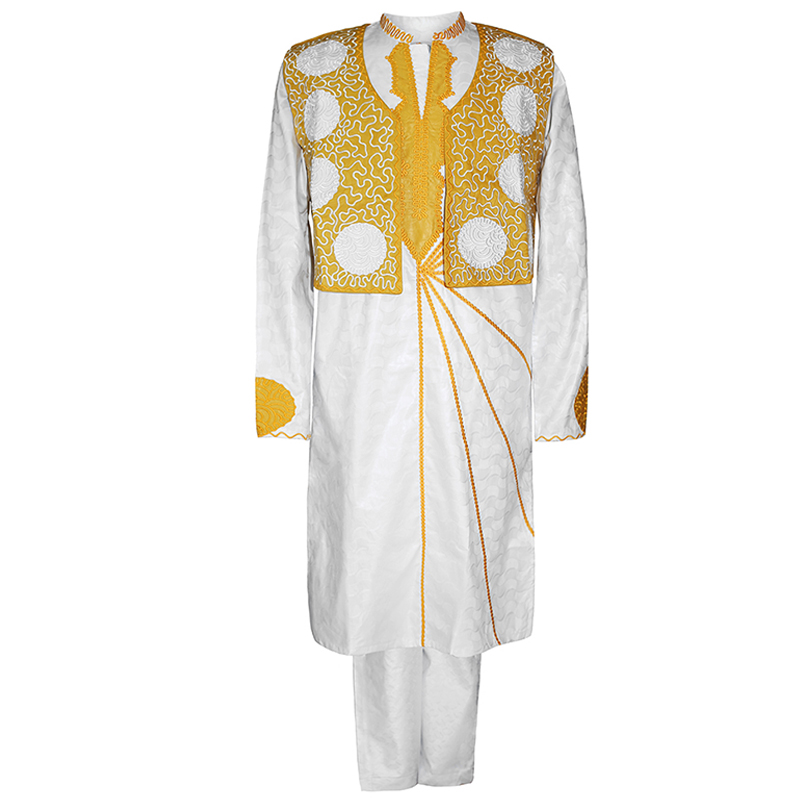 H&D White Gold Agbada African Men Bazin Riche Clothes Vest Shirt Pants 3PCS Suit Embroidery Dashiki Formal Costume Wedding Robe