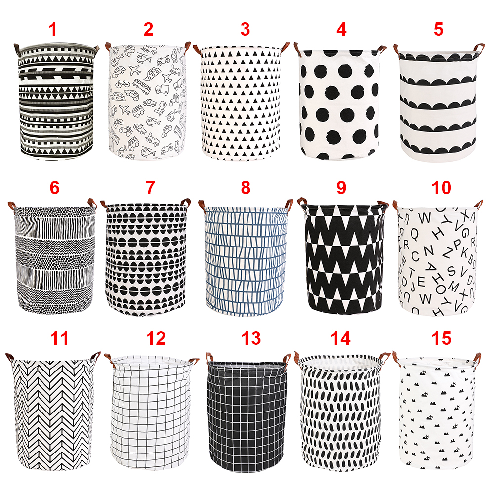 Bucket-Organizer Storage-Bin-Bag Clothes-Toy-Holder Hamper Laundry-Basket Folding Round title=