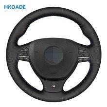 Diy couro artificial preto mão-costurado volante do carro capa para bmw m sport f10 f11 (touring) f07 f12 f13 f06 f01 f02 m5