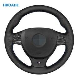DIY negro Artificial de mano de cuero-cuero protector para volante de coche para BMW M F10 F11 (turismo) F07 F12 F13 F06 F01 F02 M5
