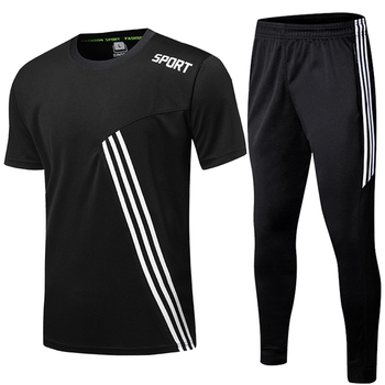 Sports Shirts Suits Running Shrit Men + Sport Jogging zip Pants men Soccer fitness workout Gym running suit set