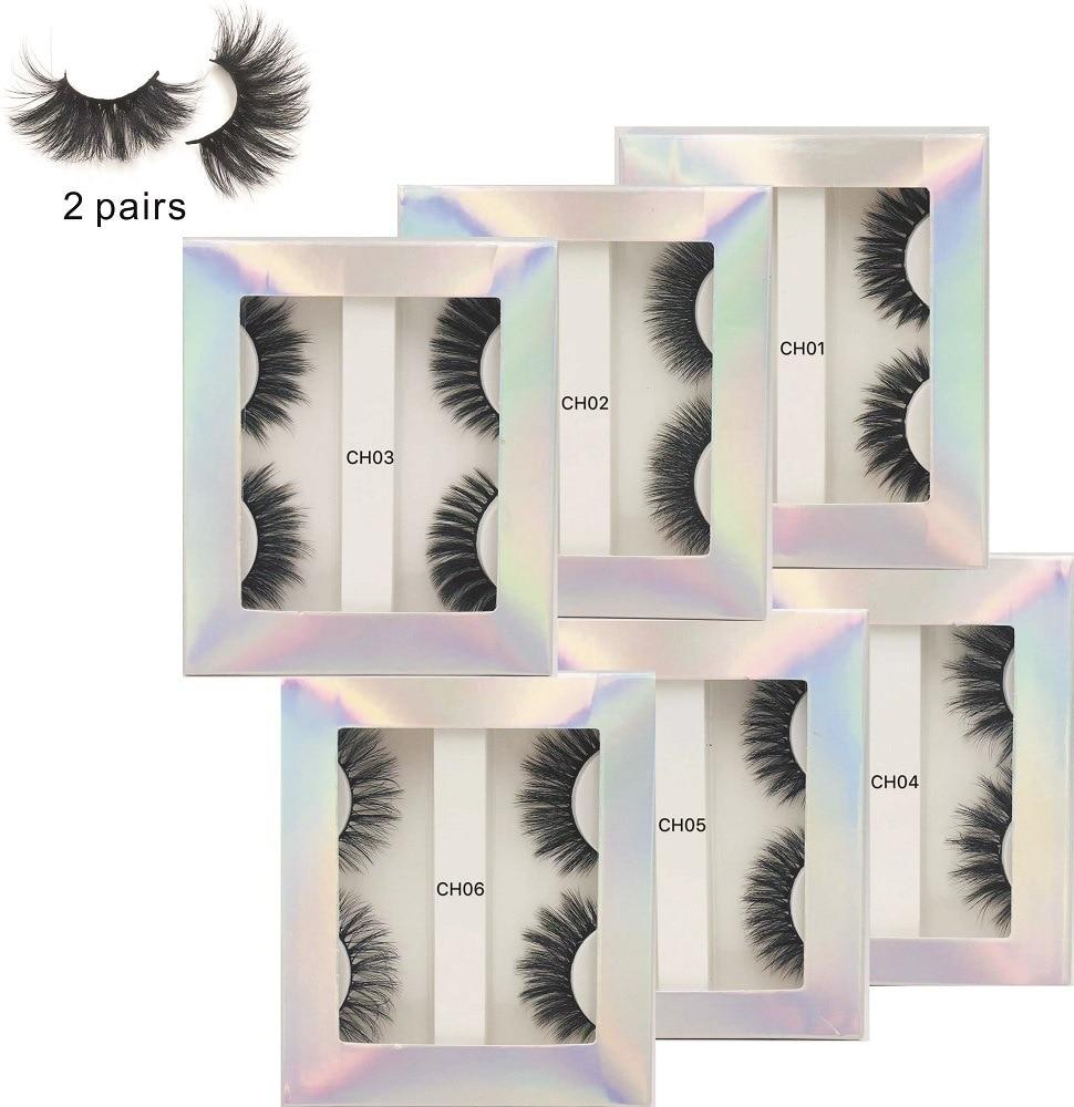 New 2 pairs of mink like eyelashes wholesale makeup eye lash packaging make up eyelash extension curly lashes eyelash