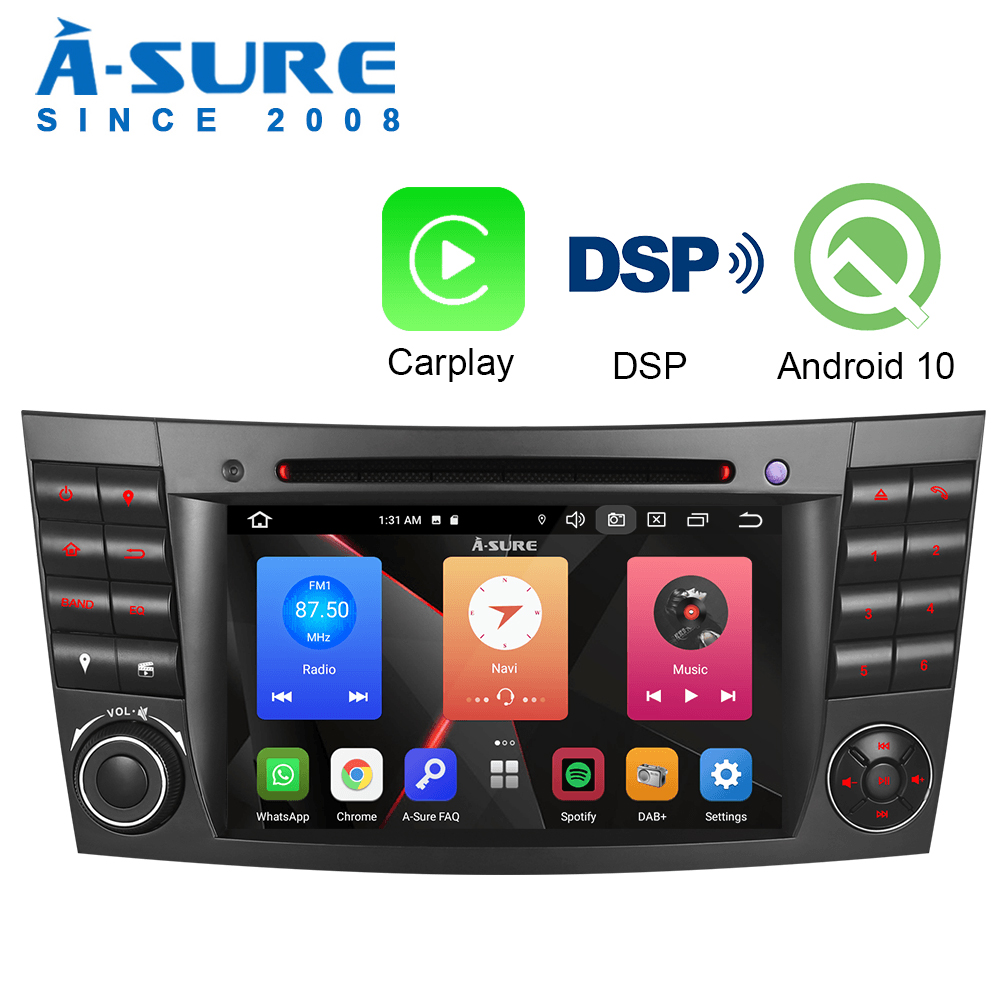 A-Sure Android 10.0 Car Radio Carplay WIFI DAB+ Stereo DVD <font><b>GPS</b></font> For <font><b>Mercedes</b></font> Benz CLS G E CLASS <font><b>W211</b></font> W219 G500 E55 image