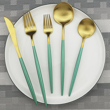 1pcs Green Metal Dinnerware Reusable Gold Flatware 304 Stainless Steel Cutlery Knife Fork Spoon Dessert Tea Kitchen Tableware(China)