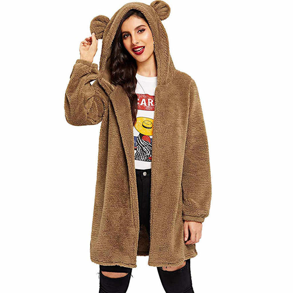 세련 된 바 여성 카디 건 후드 스웨터 겨울 느슨한 솜털 곰 귀 후드 자 켓 따뜻한 아우터 코트 귀여운 양 털 스웨터