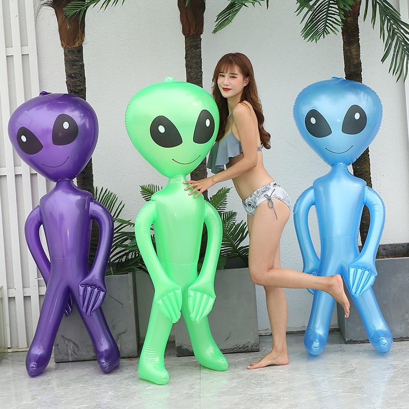 90cm/170cm Alien Children Toys Friendly PVC Inflatable ECALIEN Doll Halloween Bar Ornaments Model Brithday Party Props Decor