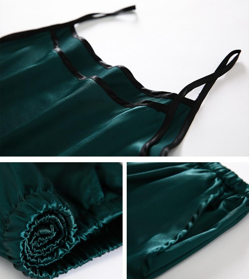 H048796440b1c40f59226613632c94de7r JULY'S SONG 7 Piece Women Pajamas Set Stain Soft Pyjama Spring Summer Female Nightwear Solid Faux Silk Shorts Homewear 2020