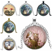 2019 Cute Owl Pendant and Necklace Tricolor Long Chain Necklace Retro Glass Cabochon Gift Ornament Necklace 2019 cute owl pendant and necklace tricolor long chain necklace retro glass cabochon gift ornament necklace