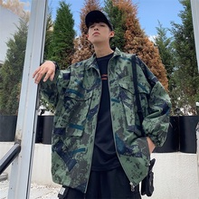 Camo Jacket Men Fashion Print Casual Big Pocket Tooling Jacket Men Coat Streetwear Hip Hop Loose Bomber Jacket Male Clothes