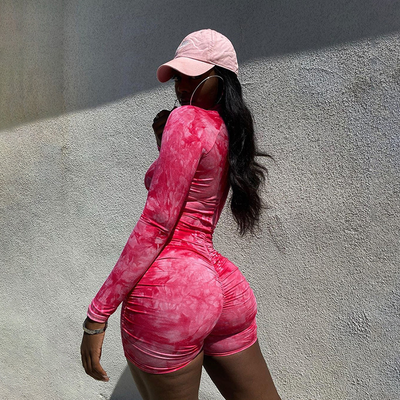 LAISIYI Rose Red Bodycon Playsuit Women Wear On Both Sides Sexy Jumpsuit Autumn 2020 Zip Up Party Club Romper Jumpsuits Shorts