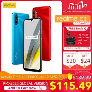 Realme C3 глобальная версия с поддержкой NFC 3 ГБ ОЗУ 64 Гб ПЗУ 5000 мАч батарея Helio G70 AI процессор 12MP + 2MP + 2MP AI 3 задние камеры HD +