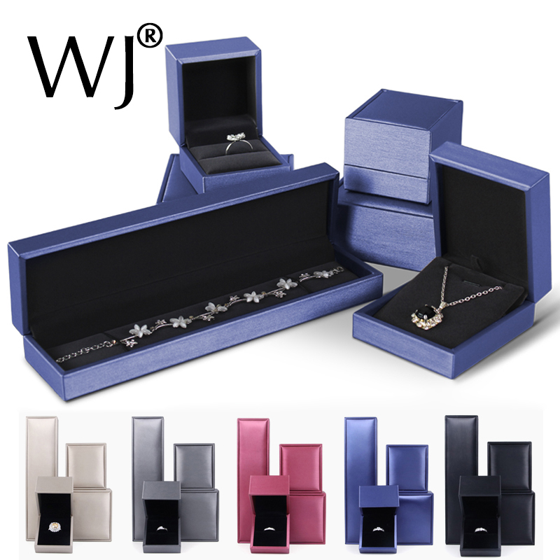 Jewellery Store Luxury Ring Necklace Packaging Box Leather Brused Case Jewelry Pendant Bracelet Display Storage Organizer Casket