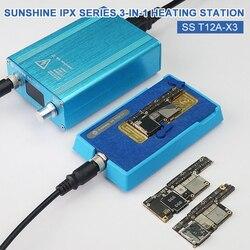 SUNSHINE 3 w 1 stacja grzewcza SS T12A-X3 dla IPhone X XS XSMAX PCB CPU odśluzowanie ciepła płyta grzewcza platforma do usuwania kleju