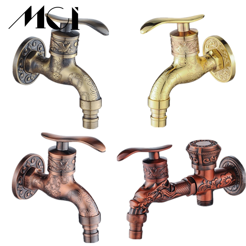 Wholesale And Retail Antique Bibcock Zinc Alloy Carved Wall Mount Retro Tap Decorative Outdoor Garden Washing Machine Mop Faucet