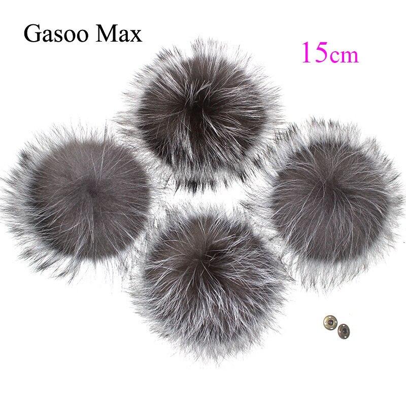 5pcs/ Lot DIY Big 15cm Pompon Raccoon And Fox Fur Pom Poms Fur Balls For Knitted Hat Cap Beanies Real Fur Pompoms Drop Shipping