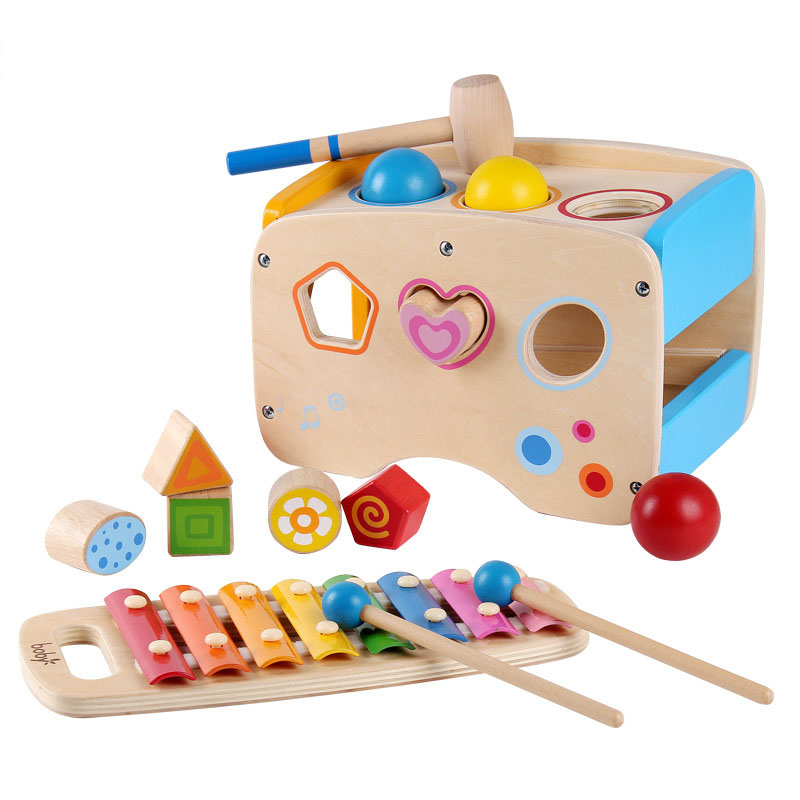 3 in 1 Pounding Bench Xylophone and Shape Toys Educational Matching Blocks multifunction Early Educational Set Kid Gifts