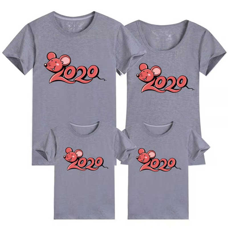 2020 Famiglia Sguardo Nuovo Anno Mamma e Vestiti T Famiglia maglietta Vestiti di Corrispondenza Estate T Camicia Padre Madre Figlio Figlia vestiti