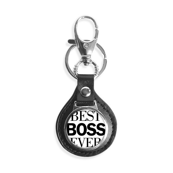 Best Boss Ever Quote Leather Metal Key Chain Ring Car Keychain Gift image