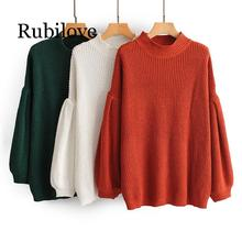 Rubilove 2019 Autumn Winter Women Turtleneck Sweater Lantern Long Sleeve Plain Cashmere Female Sweater Jumper Pull Femme lantern sleeve plain pullover sweater