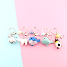 Cute Anime  Key Chain Bear Seal Dolphin Chains Penguin Whale Bag Charm for Girl Keys Ring Creative Gift Kpop Accessories