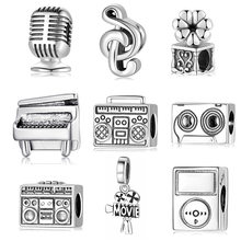 Love Music 925 Sterling Silver Fashion Piano Microphone Music Charms Beads Fit Original JIUHAO Charm Bracelet Jewelry Making