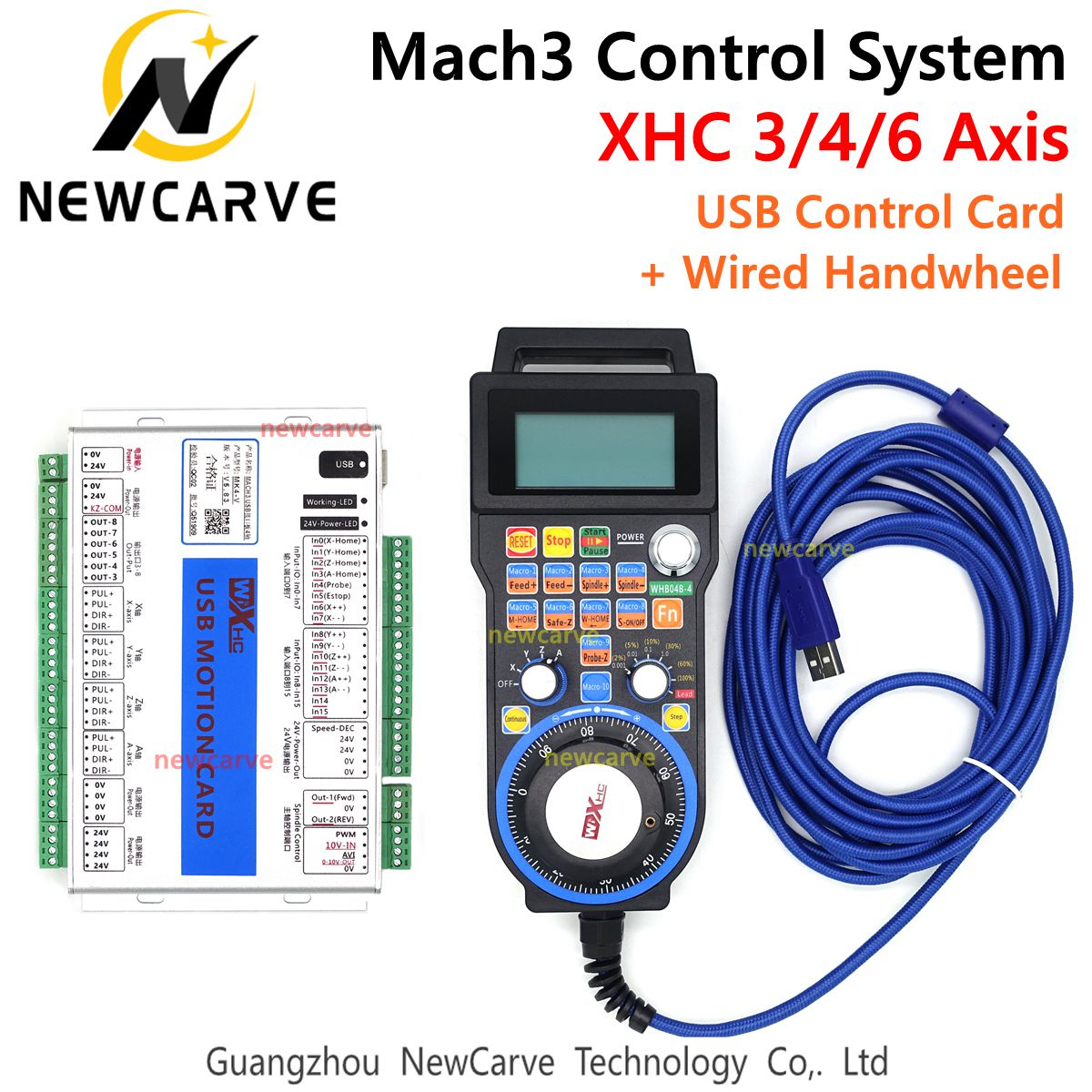 Mach3 Controller Kit XHC MKX-V 2MHz USB Breakout Board 3 4 6 Axis Motion Control Card With Wired MPG Pendant Handwheel LHB04B