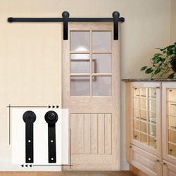 Sliding Barn Door Hardware Kit Top Mounted Hanger Track Black Steel Closet Roller Rail for Single Doors