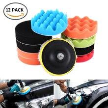 12 pcs 5 Inch Buffing Sponge Polishing Pad Hand Tool Kit For Car Polisher Wax