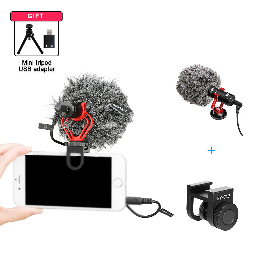 cheapest BOYA BY-MM1  Condenser Video Recording Microphone with clip Youtube Vlogging Mic for Smartphone Tablets DSLR Camera Camcorder PC