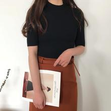 2019 autumn and winter womens sweaters Solid color round neck slim knit tops
