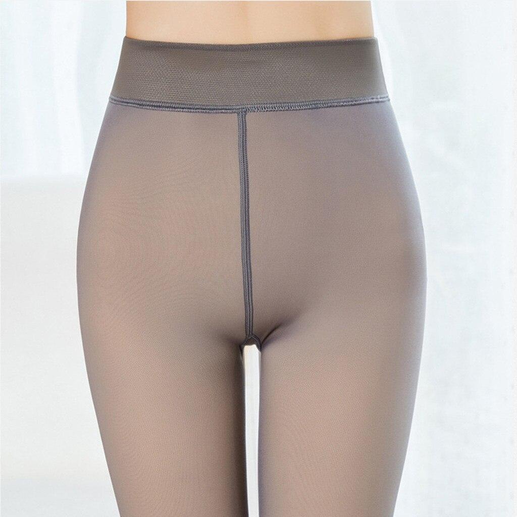 falso translúcido magro elástico meias para calças de inverno lã quente