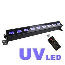 Fernbedienung UV Violet 9Led Bar Laser Projektion Beleuchtung Party Club Disco Licht Für Weihnachten Indoor Bühne Wirkung Lichter