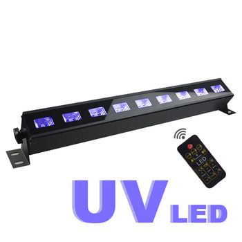 Remote Control  UV Violet 9Led Bar Laser Projection Lighting Party Club Disco Light For Christmas Indoor Stage Effect Lights