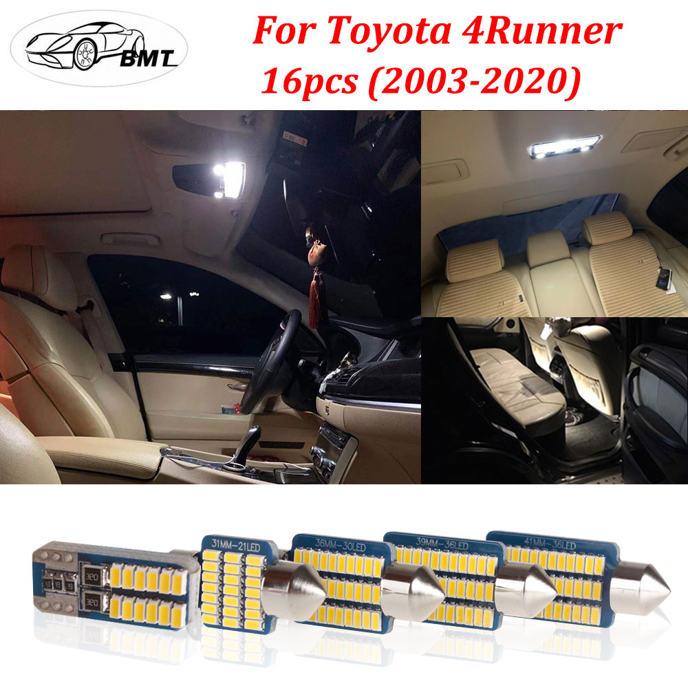 BMT 16Pcs Canbus No Errore White Warm White LED Car Interior Light Package Kit + Tool for 2003 - 2018 2019 2020 <font><b>Toyota</b></font> <font><b>4Runner</b></font> image