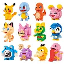 цена на New Arrival Kawaii action figures Anime Cartoon Pikachu Diamond Block Plastic Cube Building Blocks Bricks Educational Toys Game